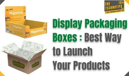 in this image there is yellow and brown display packaging boxes and thetechnotips logo